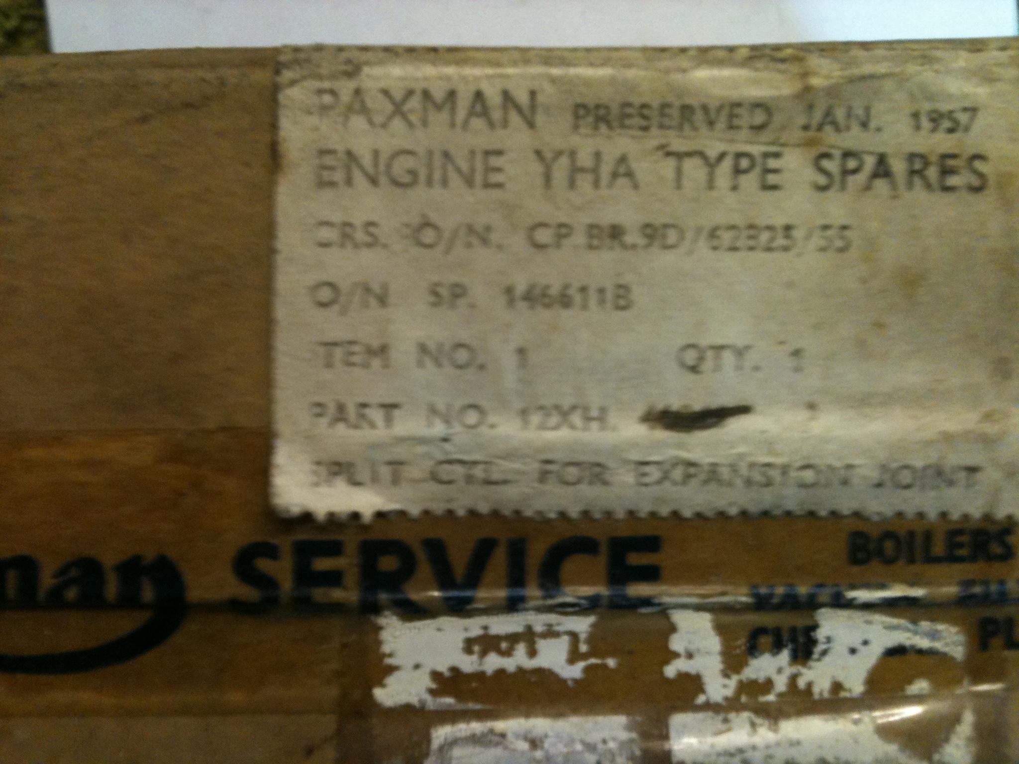 1957 Paxman YHA parts